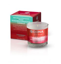 DONA KISSABLE MASSAGE CANDLE STRAWBERRY SOUFFLE 4.75 OZ