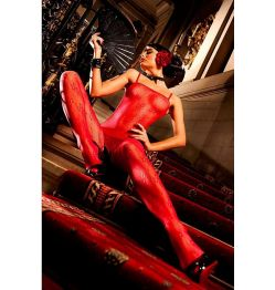 FLOWER LACE BODYSTOCKING RED ONE SIZE